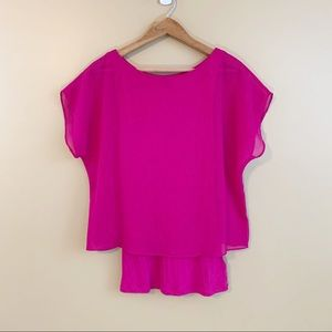 Express hot pink dolman layered top short sleeve